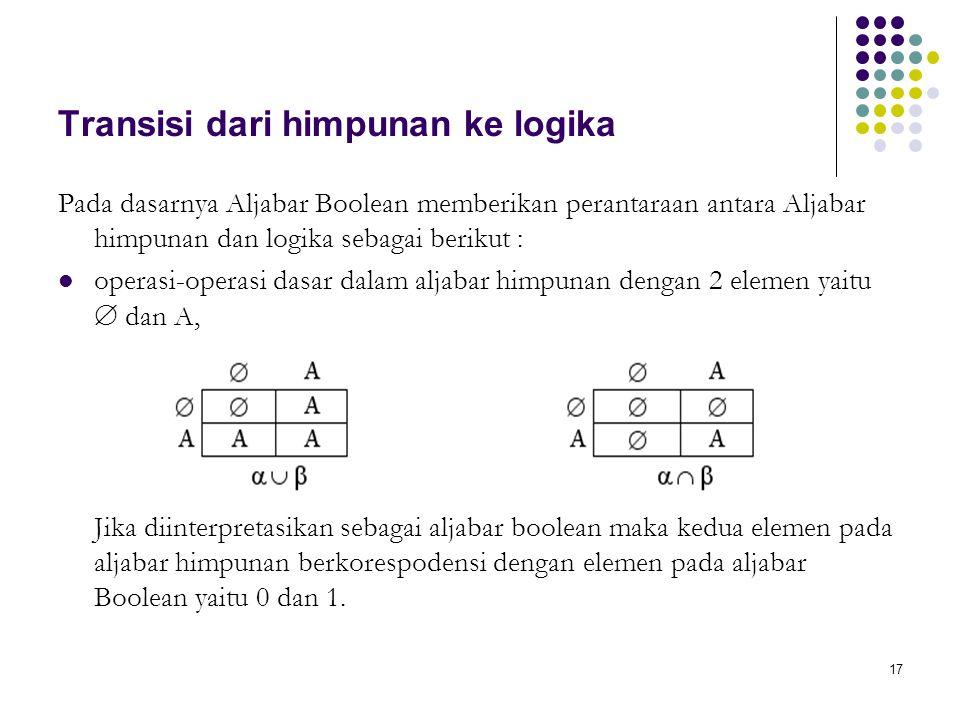 Transisi dari himpunan ke logika Pada dasarnya Aljabar Boolean memberikan perantaraan antara Aljabar himpunan dan logika sebagai berikut : operasi-ope