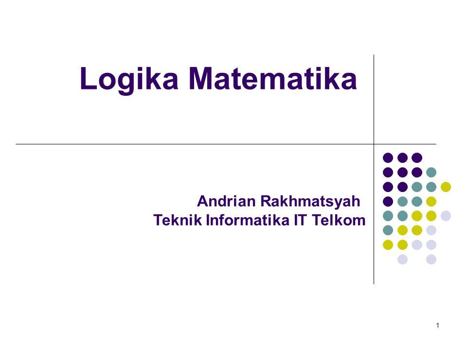 Logika Matematika 1 Andrian Rakhmatsyah Teknik Informatika IT Telkom
