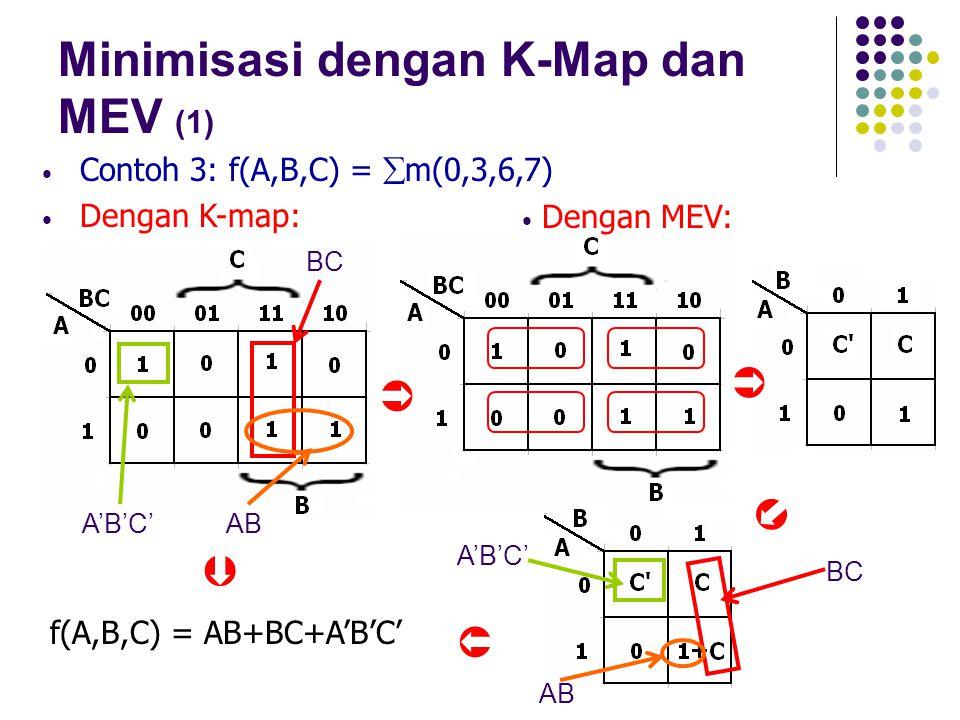 Minimisasi dengan K-Map dan MEV (1) Contoh 3: f(A,B,C) =  m(0,3,6,7) Dengan K-map: A'B'C' AB BC A'B'C'AB f(A,B,C) = AB+BC+A'B'C' Dengan MEV:    