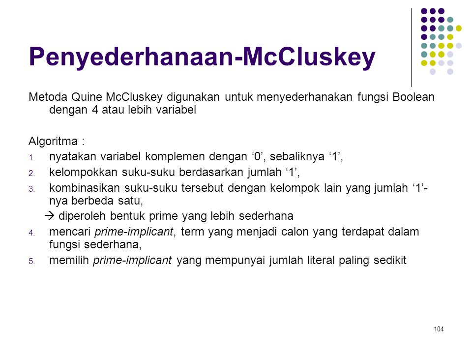 Penyederhanaan-McCluskey Metoda Quine McCluskey digunakan untuk menyederhanakan fungsi Boolean dengan 4 atau lebih variabel Algoritma : 1. nyatakan va