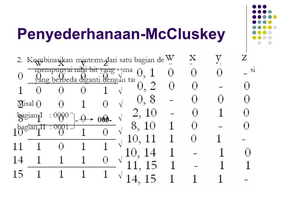Penyederhanaan-McCluskey 2. Kombinasikan minterm dari satu bagian dengan bagian lainnya jika mempunyai nilai bit yang sama dalam semua posisi kecuali