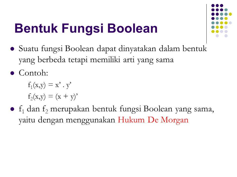 Bentuk Fungsi Boolean Suatu fungsi Boolean dapat dinyatakan dalam bentuk yang berbeda tetapi memiliki arti yang sama Contoh: f 1 (x,y) = x'. y' f 2 (x