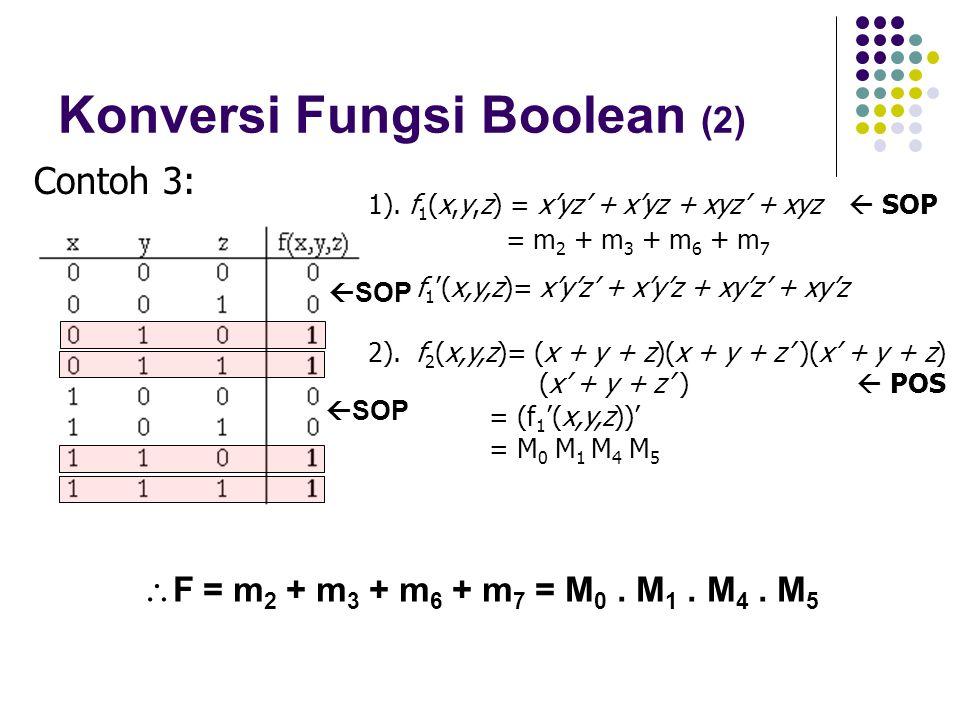 Konversi Fungsi Boolean (2) 1). f 1 (x,y,z) = x'yz' + x'yz + xyz' + xyz  SOP = m 2 + m 3 + m 6 + m 7 f 1 '(x,y,z)= x'y'z' + x'y'z + xy'z' + xy'z 2).f