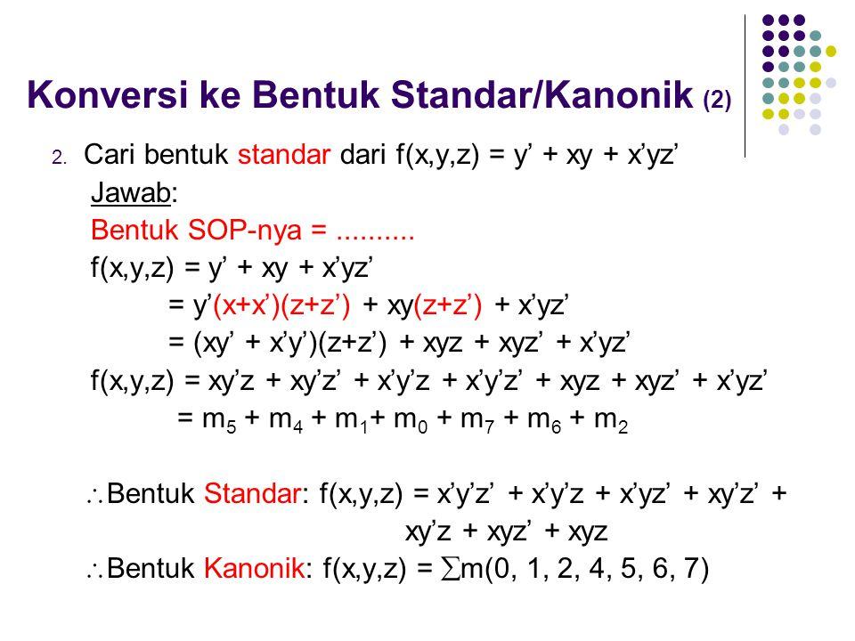 Konversi ke Bentuk Standar/Kanonik (2) 2. Cari bentuk standar dari f(x,y,z) = y' + xy + x'yz' Jawab: Bentuk SOP-nya =.......... f(x,y,z) = y' + xy + x