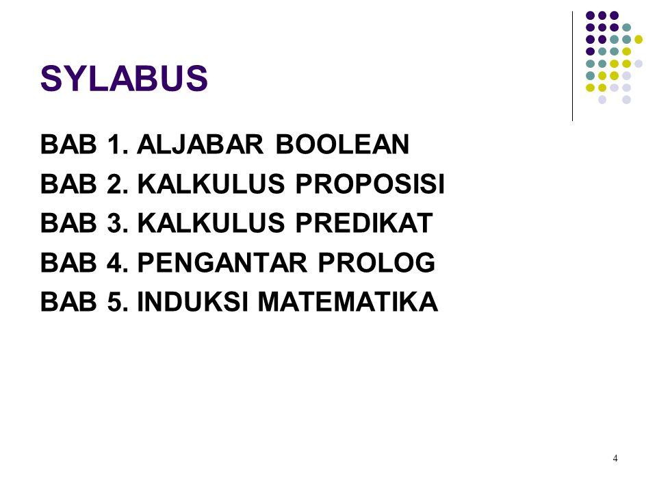 SYLABUS BAB 1. ALJABAR BOOLEAN BAB 2. KALKULUS PROPOSISI BAB 3. KALKULUS PREDIKAT BAB 4. PENGANTAR PROLOG BAB 5. INDUKSI MATEMATIKA 4