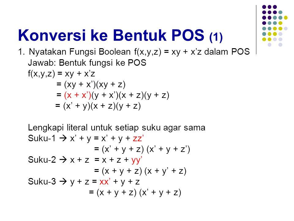 Konversi ke Bentuk POS (1) 1.Nyatakan Fungsi Boolean f(x,y,z) = xy + x'z dalam POS Jawab: Bentuk fungsi ke POS f(x,y,z) = xy + x'z = (xy + x')(xy + z)