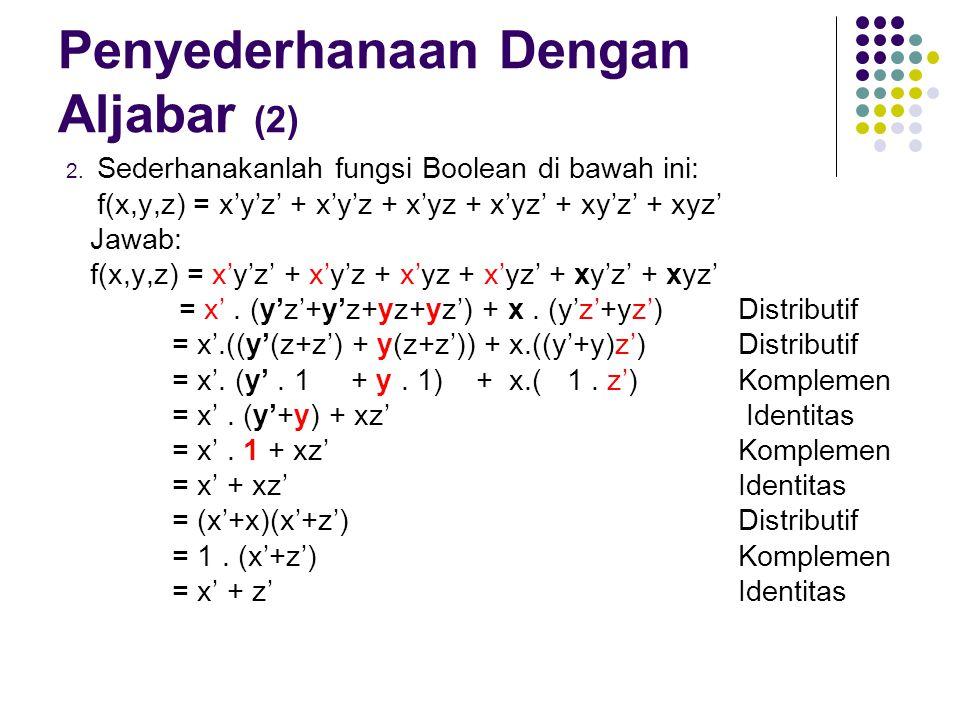 Penyederhanaan Dengan Aljabar (2) 2. Sederhanakanlah fungsi Boolean di bawah ini: f(x,y,z) = x'y'z' + x'y'z + x'yz + x'yz' + xy'z' + xyz' Jawab: f(x,y