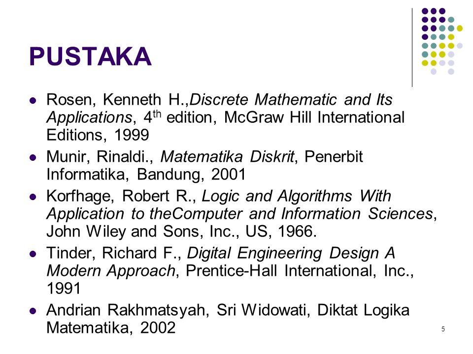 PUSTAKA Rosen, Kenneth H.,Discrete Mathematic and Its Applications, 4 th edition, McGraw Hill International Editions, 1999 Munir, Rinaldi., Matematika
