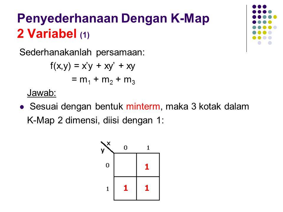 Penyederhanaan Dengan K-Map 2 Variabel (1) Sederhanakanlah persamaan: f(x,y) = x'y + xy' + xy = m 1 + m 2 + m 3 Jawab: Sesuai dengan bentuk minterm, m