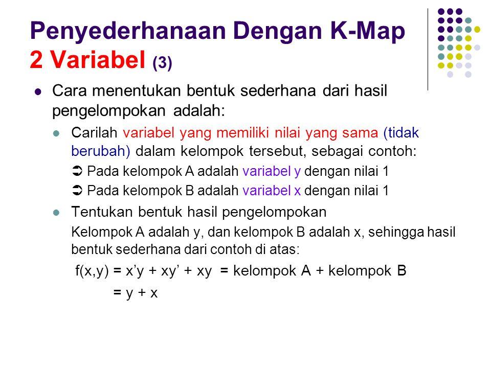 Penyederhanaan Dengan K-Map 2 Variabel (3) Cara menentukan bentuk sederhana dari hasil pengelompokan adalah: Carilah variabel yang memiliki nilai yang