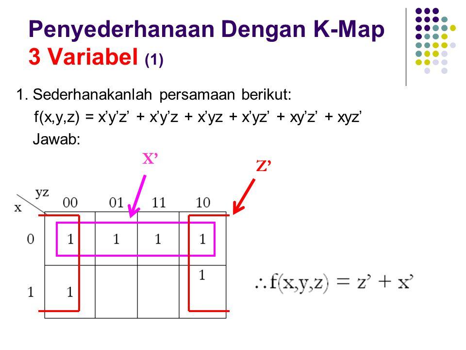 Penyederhanaan Dengan K-Map 3 Variabel (1) 1. Sederhanakanlah persamaan berikut: f(x,y,z) = x'y'z' + x'y'z + x'yz + x'yz' + xy'z' + xyz' Jawab: Z' X'