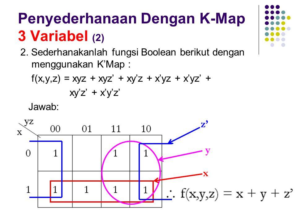 Penyederhanaan Dengan K-Map 3 Variabel (2) 2. Sederhanakanlah fungsi Boolean berikut dengan menggunakan K'Map : f(x,y,z) = xyz + xyz' + xy'z + x'yz +