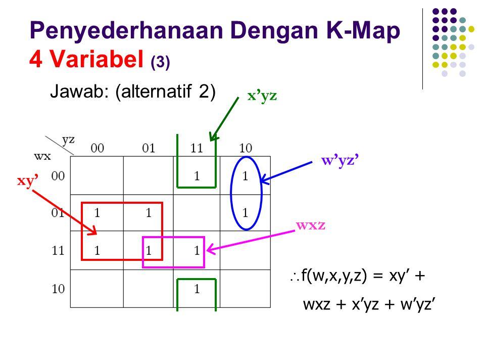 Penyederhanaan Dengan K-Map 4 Variabel (3) Jawab: (alternatif 2)  f(w,x,y,z) = xy' + wxz + x'yz + w'yz' xy' w'yz' x'yz wxz