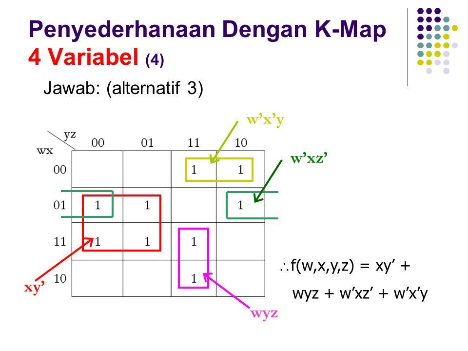 Penyederhanaan Dengan K-Map 4 Variabel (4) Jawab: (alternatif 3)  f(w,x,y,z) = xy' + wyz + w'xz' + w'x'y xy' w'x'y wyz w'xz'
