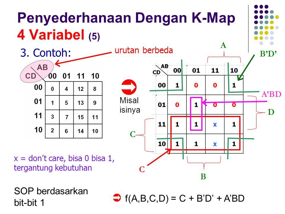 Penyederhanaan Dengan K-Map 4 Variabel (5) 3. Contoh: SOP berdasarkan bit-bit 1 urutan berbeda  x = don't care, bisa 0 bisa 1, tergantung kebutuhan C