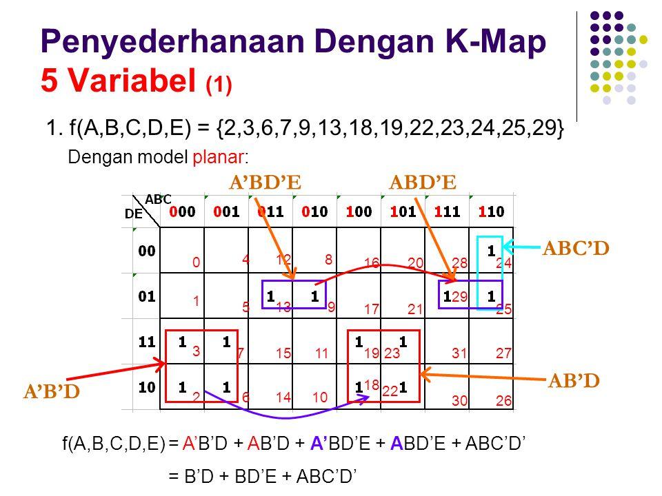 Penyederhanaan Dengan K-Map 5 Variabel (1) 1. f(A,B,C,D,E) = {2,3,6,7,9,13,18,19,22,23,24,25,29} 1 0 2 3 5 4 6 7 13 12 14 15 9 8 10 11 17 16 18 19 21