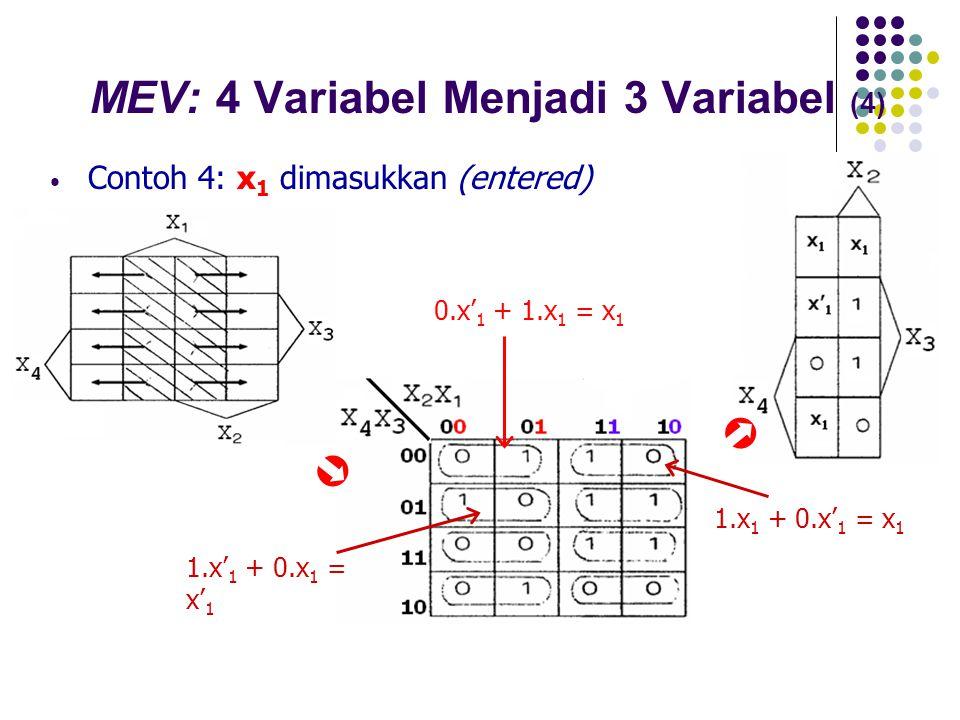 MEV: 4 Variabel Menjadi 3 Variabel (4) Contoh 4: x 1 dimasukkan (entered)  0.x' 1 + 1.x 1 = x 1  1.x' 1 + 0.x 1 = x' 1 1.x 1 + 0.x' 1 = x 1