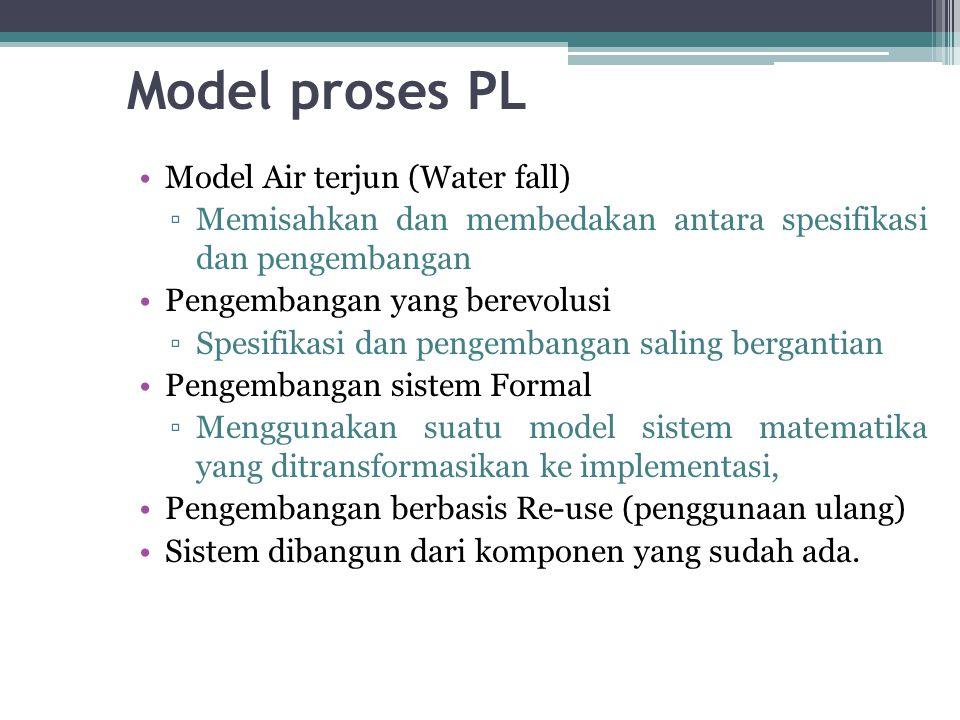 Model proses PL Model Air terjun (Water fall) ▫Memisahkan dan membedakan antara spesifikasi dan pengembangan Pengembangan yang berevolusi ▫Spesifikasi