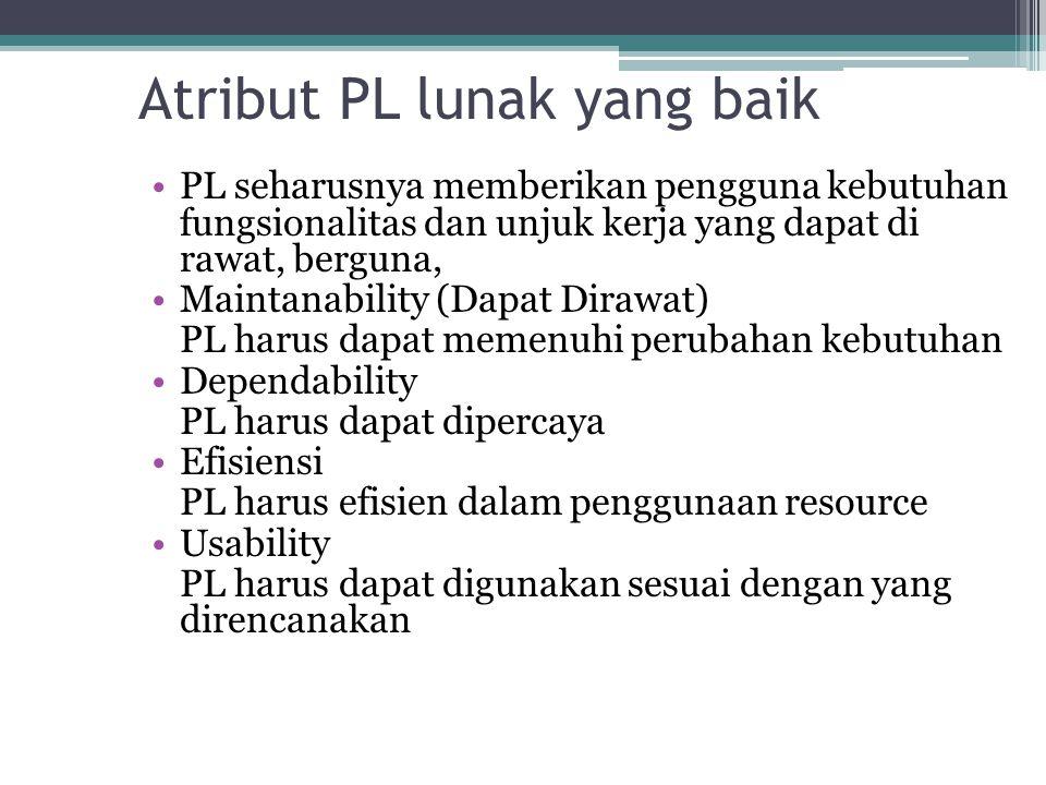 Atribut PL lunak yang baik PL seharusnya memberikan pengguna kebutuhan fungsionalitas dan unjuk kerja yang dapat di rawat, berguna, Maintanability (Da