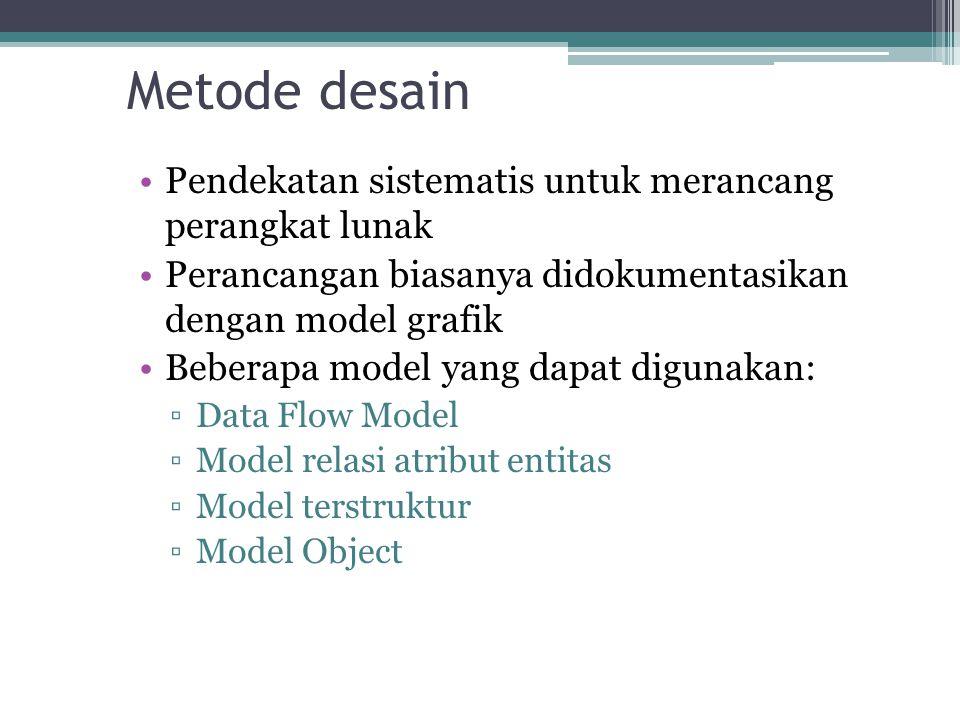 Metode desain Pendekatan sistematis untuk merancang perangkat lunak Perancangan biasanya didokumentasikan dengan model grafik Beberapa model yang dapa