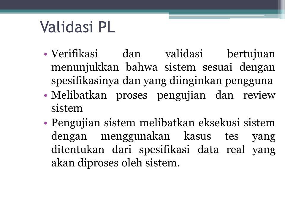 Validasi PL Verifikasi dan validasi bertujuan menunjukkan bahwa sistem sesuai dengan spesifikasinya dan yang diinginkan pengguna Melibatkan proses pen