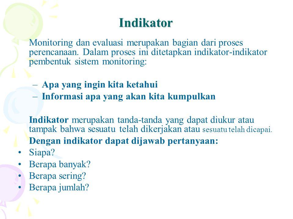 Indikator Monitoring dan evaluasi merupakan bagian dari proses perencanaan. Dalam proses ini ditetapkan indikator-indikator pembentuk sistem monitorin