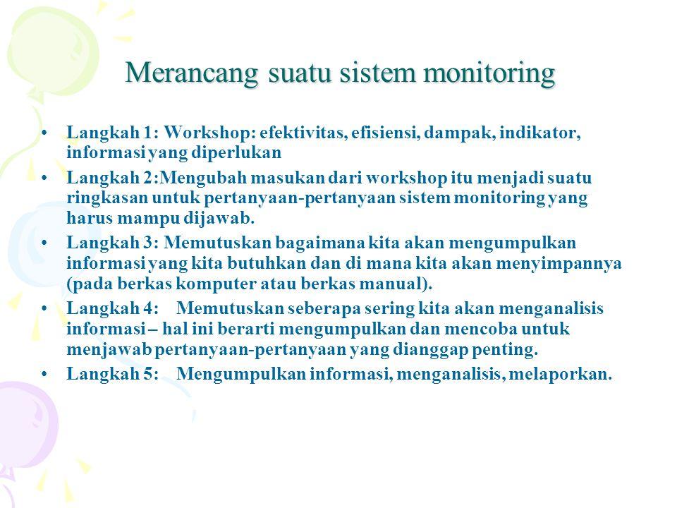 Merancang suatu sistem monitoring Langkah 1: Workshop: efektivitas, efisiensi, dampak, indikator, informasi yang diperlukan Langkah 2:Mengubah masukan
