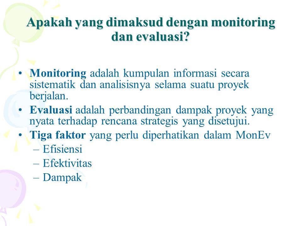 Apakah yang dimaksud dengan monitoring dan evaluasi? Monitoring adalah kumpulan informasi secara sistematik dan analisisnya selama suatu proyek berjal