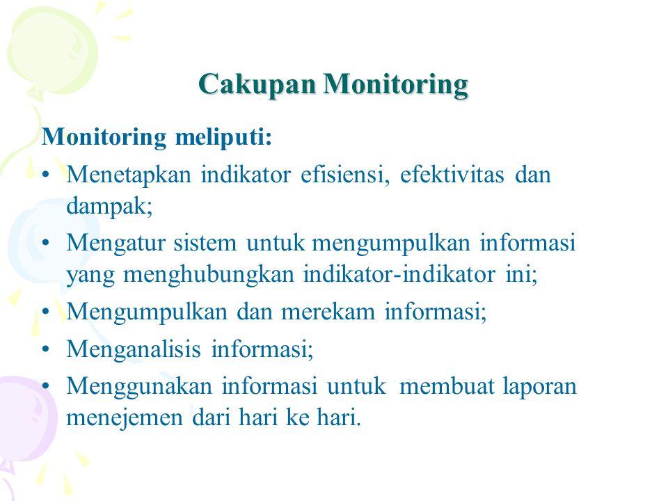 Cakupan Monitoring Monitoring meliputi: Menetapkan indikator efisiensi, efektivitas dan dampak; Mengatur sistem untuk mengumpulkan informasi yang menghubungkan indikator-indikator ini; Mengumpulkan dan merekam informasi; Menganalisis informasi; Menggunakan informasi untuk membuat laporan menejemen dari hari ke hari.