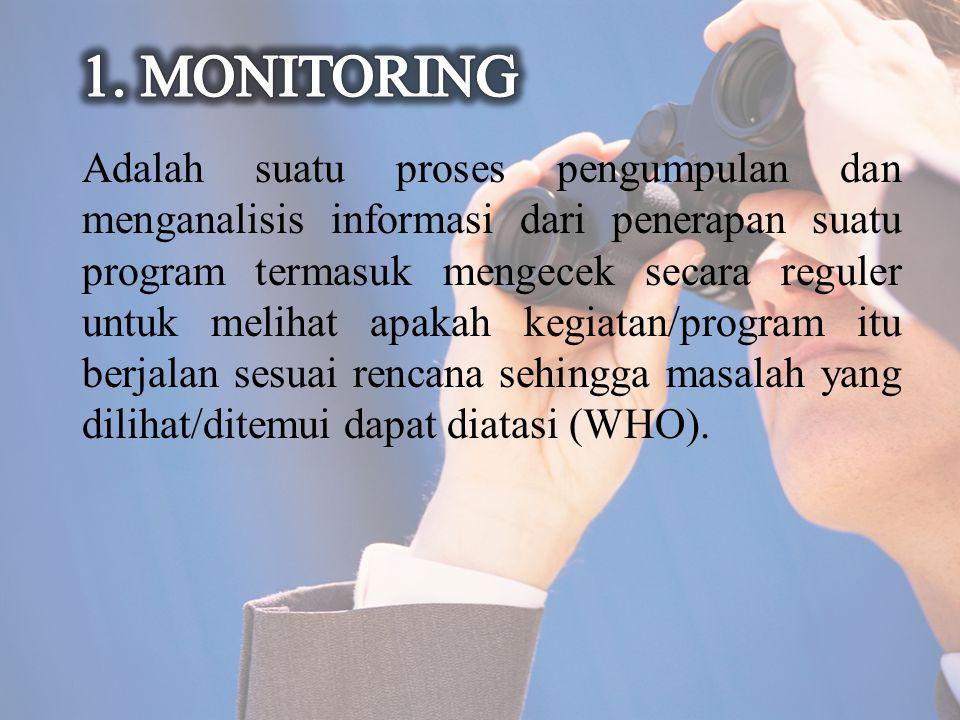 Adalah suatu proses pengumpulan dan menganalisis informasi dari penerapan suatu program termasuk mengecek secara reguler untuk melihat apakah kegiatan/program itu berjalan sesuai rencana sehingga masalah yang dilihat/ditemui dapat diatasi (WHO).