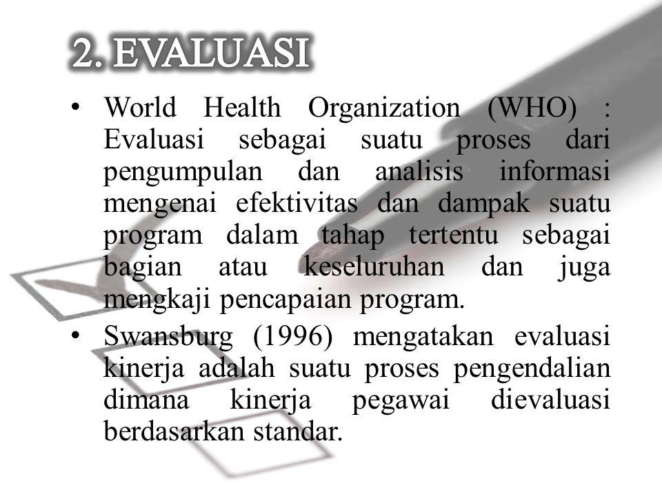 World Health Organization (WHO) : Evaluasi sebagai suatu proses dari pengumpulan dan analisis informasi mengenai efektivitas dan dampak suatu program dalam tahap tertentu sebagai bagian atau keseluruhan dan juga mengkaji pencapaian program.