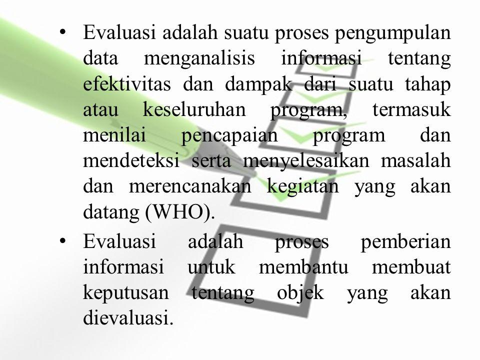 World Health Organization (WHO) : Evaluasi sebagai suatu proses dari pengumpulan dan analisis informasi mengenai efektivitas dan dampak suatu program