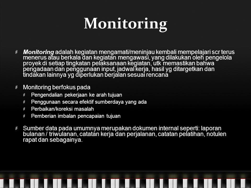 Monitoring Monitoring adalah kegiatan mengamati/meninjau kembali mempelajari scr terus menerus atau berkala dan kegiatan mengawasi, yang dilakukan ole