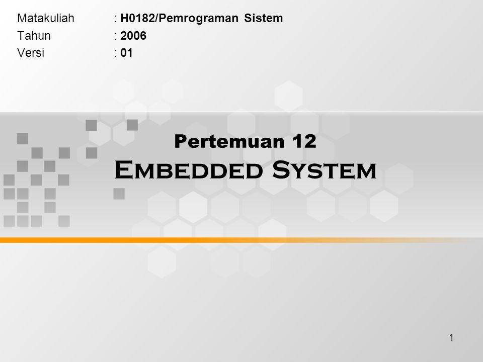 1 Pertemuan 12 Embedded System Matakuliah: H0182/Pemrograman Sistem Tahun: 2006 Versi: 01