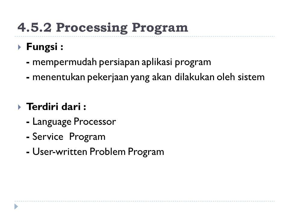 4.5.2 Processing Program  Fungsi : - mempermudah persiapan aplikasi program - menentukan pekerjaan yang akan dilakukan oleh sistem  Terdiri dari : -