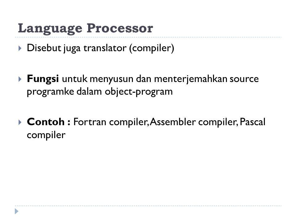 Language Processor  Disebut juga translator (compiler)  Fungsi untuk menyusun dan menterjemahkan source programke dalam object-program  Contoh : Fortran compiler, Assembler compiler, Pascal compiler