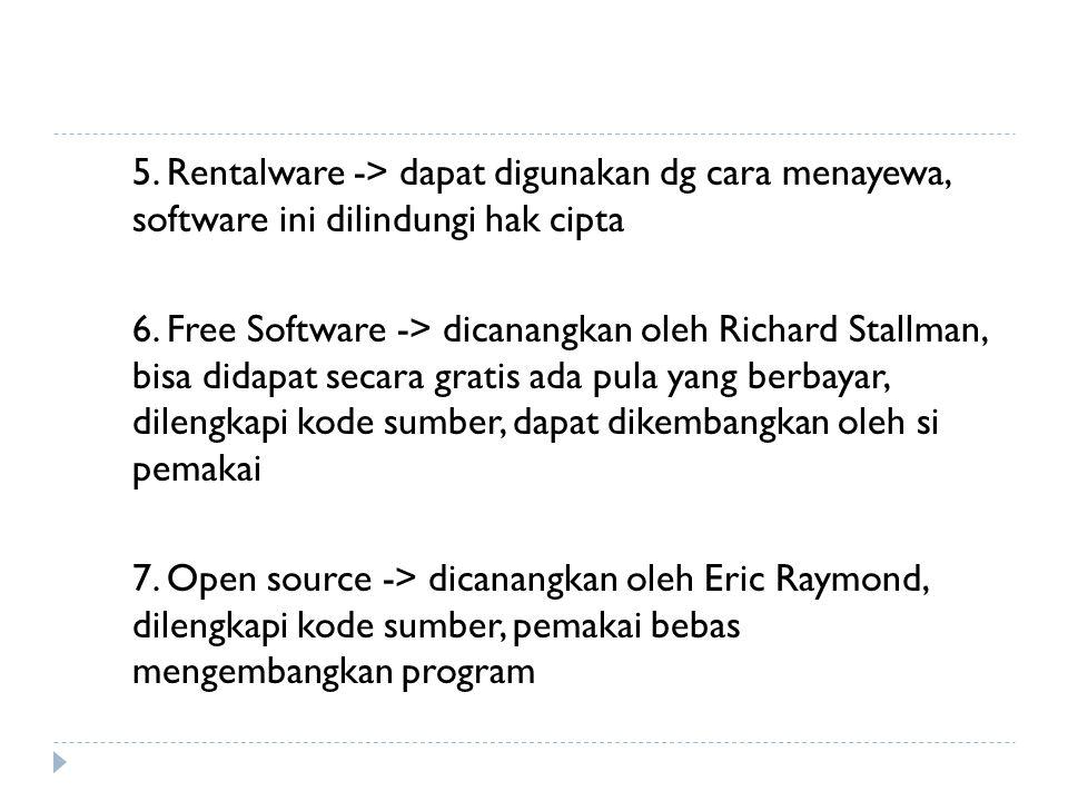 5. Rentalware -> dapat digunakan dg cara menayewa, software ini dilindungi hak cipta 6. Free Software -> dicanangkan oleh Richard Stallman, bisa didap