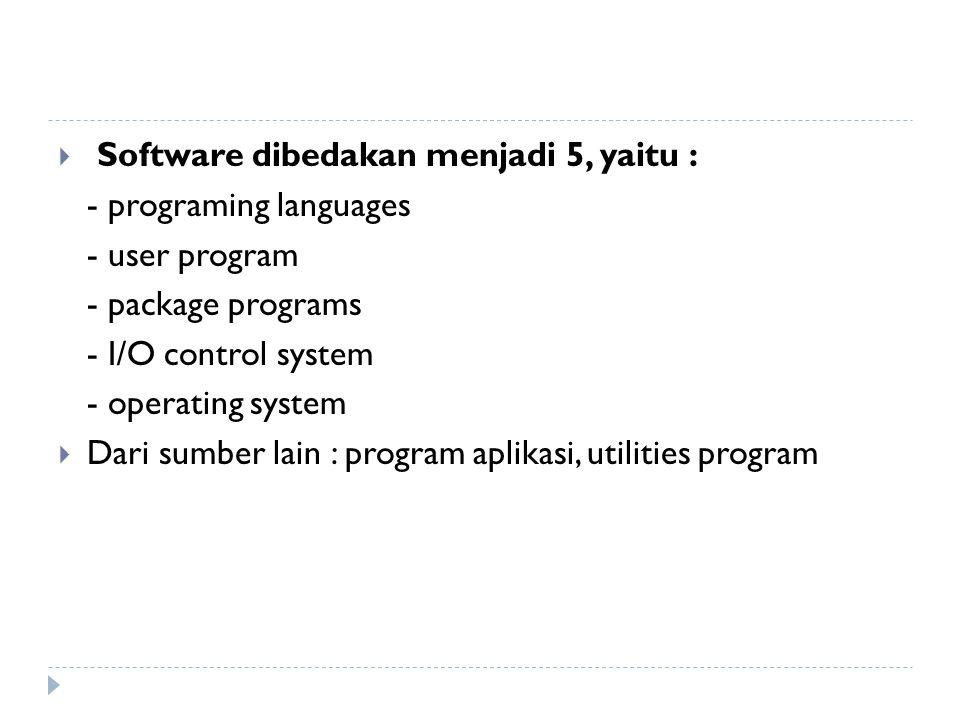  Software dibedakan menjadi 5, yaitu : - programing languages - user program - package programs - I/O control system - operating system  Dari sumber lain : program aplikasi, utilities program