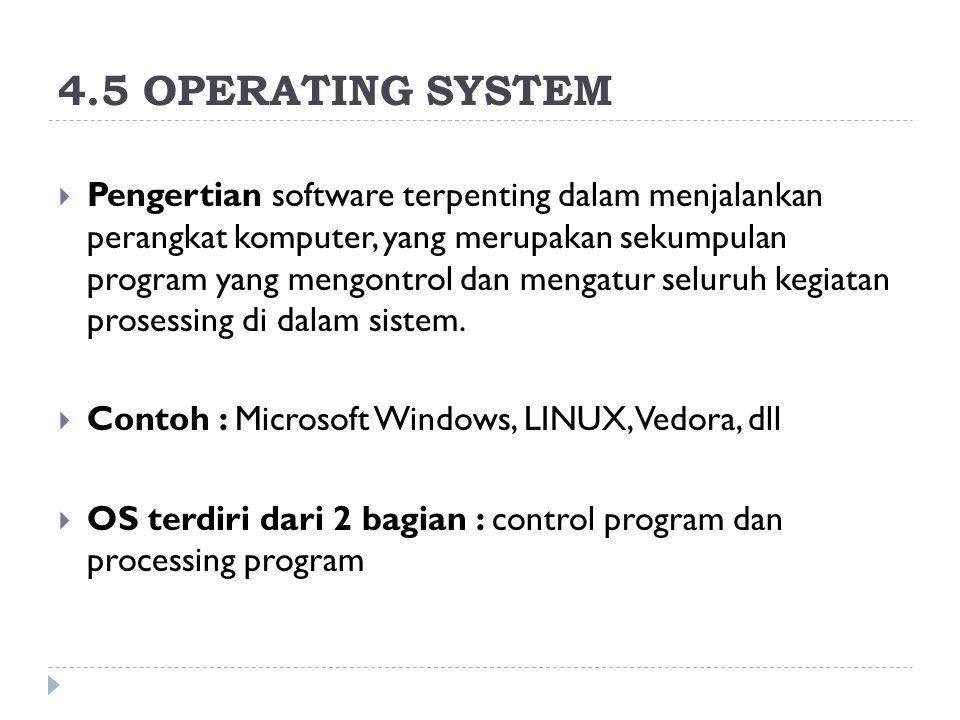4.5 OPERATING SYSTEM  Pengertian software terpenting dalam menjalankan perangkat komputer, yang merupakan sekumpulan program yang mengontrol dan meng