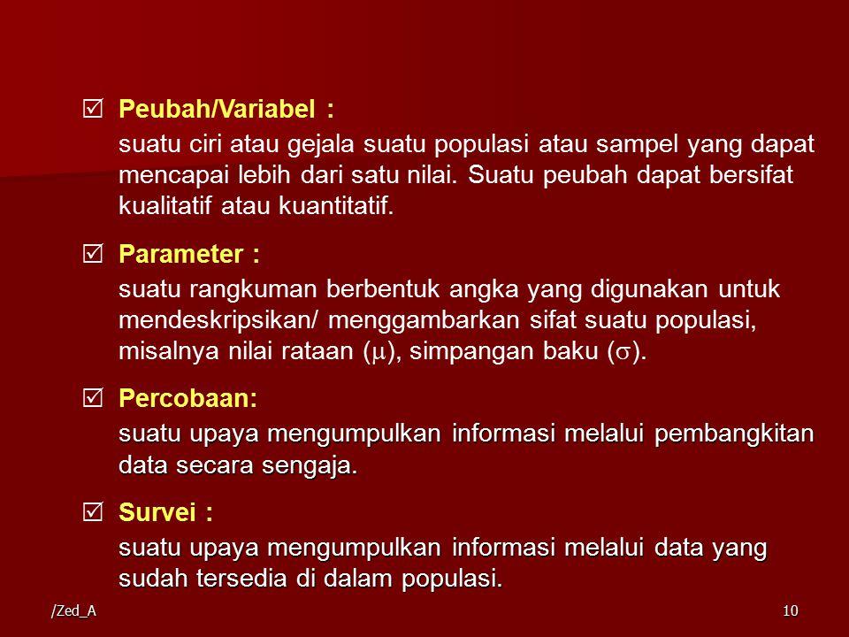 /Zed_A10  Peubah/Variabel : suatu ciri atau gejala suatu populasi atau sampel yang dapat mencapai lebih dari satu nilai.