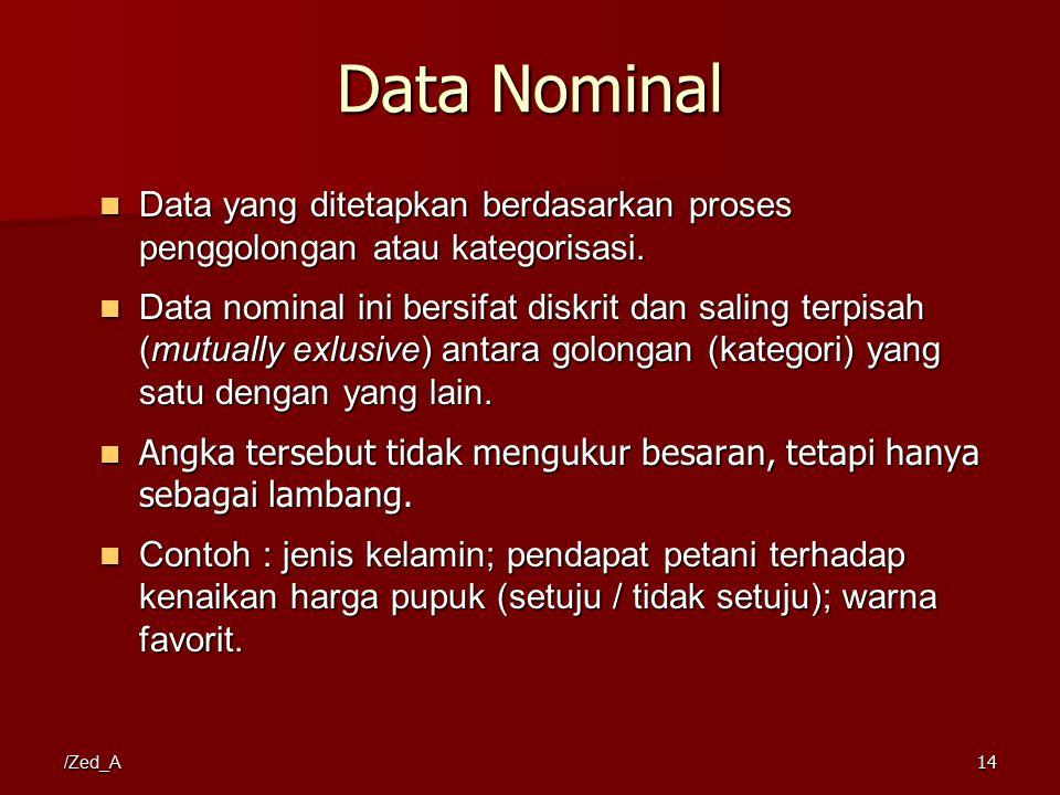Data Nominal Data yang ditetapkan berdasarkan proses penggolongan atau kategorisasi. Data yang ditetapkan berdasarkan proses penggolongan atau kategor