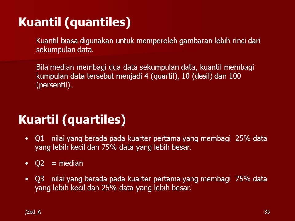 35 Kuantil (quantiles) Kuantil biasa digunakan untuk memperoleh gambaran lebih rinci dari sekumpulan data. Bila median membagi dua data sekumpulan dat