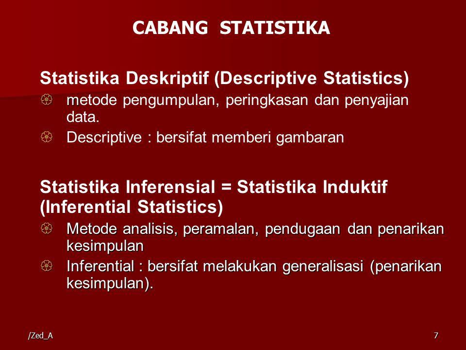 /Zed_A7 Statistika Deskriptif (Descriptive Statistics)  m  metode pengumpulan, peringkasan dan penyajian data.  Descriptive : bersifat memberi gamb