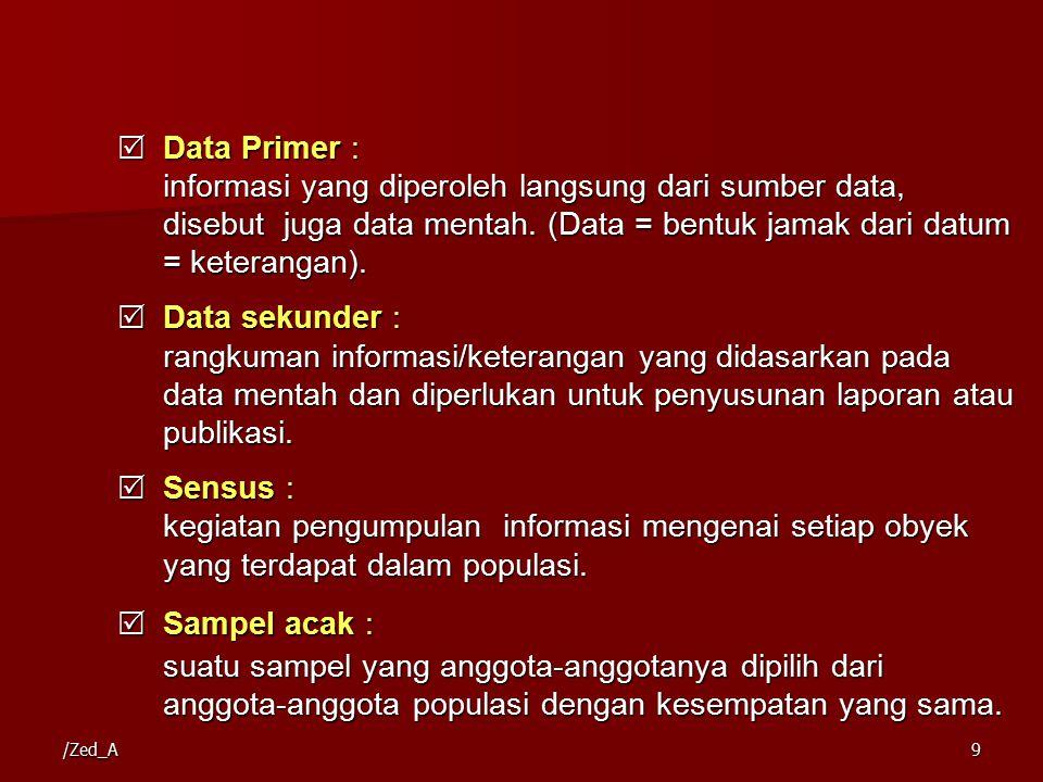 /Zed_A9  Data Primer : informasi yang diperoleh langsung dari sumber data, disebut juga data mentah. (Data = bentuk jamak dari datum = keterangan). 