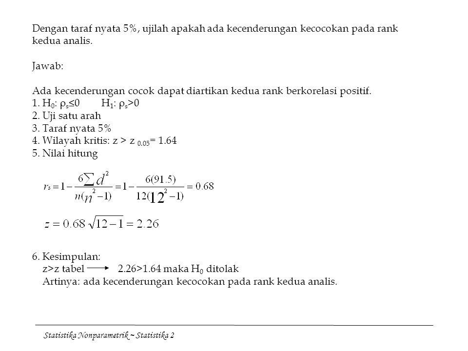 Statistika Nonparametrik ~ Statistika 2 Dengan taraf nyata 5%, ujilah apakah ada kecenderungan kecocokan pada rank kedua analis. Jawab: Ada kecenderun