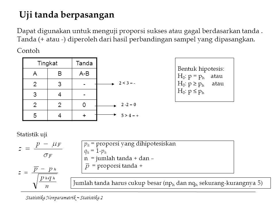 Statistika Nonparametrik ~ Statistika 2 Uji tanda berpasangan Dapat digunakan untuk menguji proporsi sukses atau gagal berdasarkan tanda. Tanda (+ ata