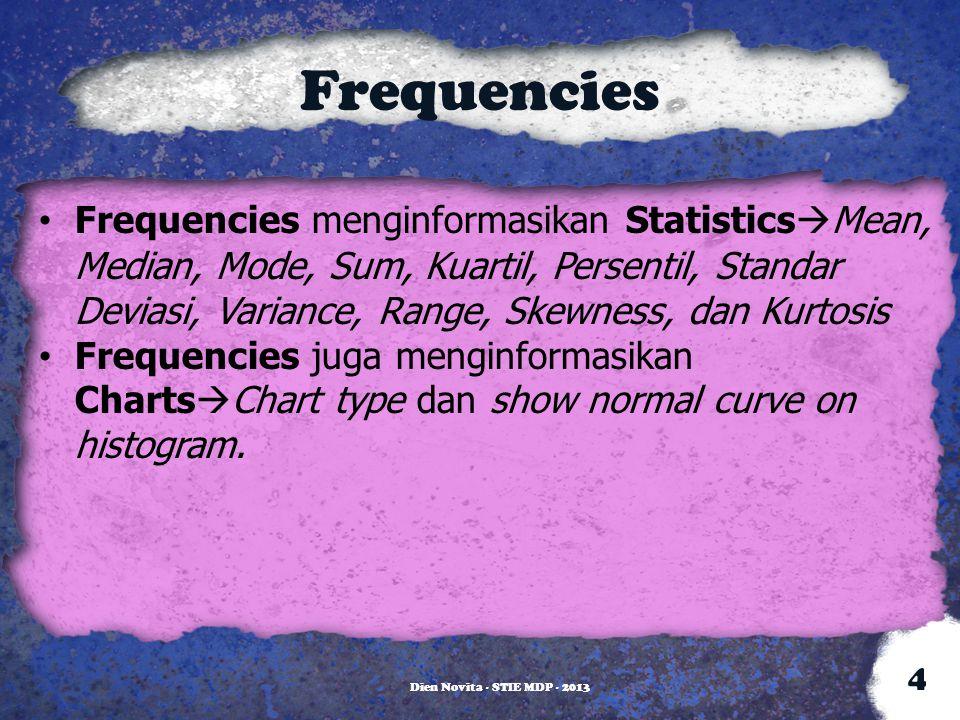 Frequencies Frequencies menginformasikan Statistics  Mean, Median, Mode, Sum, Kuartil, Persentil, Standar Deviasi, Variance, Range, Skewness, dan Kur