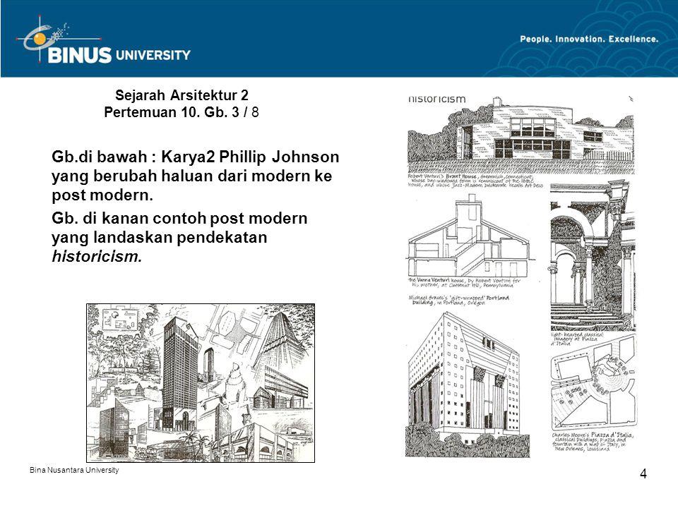 Bina Nusantara University 4 Sejarah Arsitektur 2 Pertemuan 10. Gb. 3 / 8 Gb.di bawah : Karya2 Phillip Johnson yang berubah haluan dari modern ke post