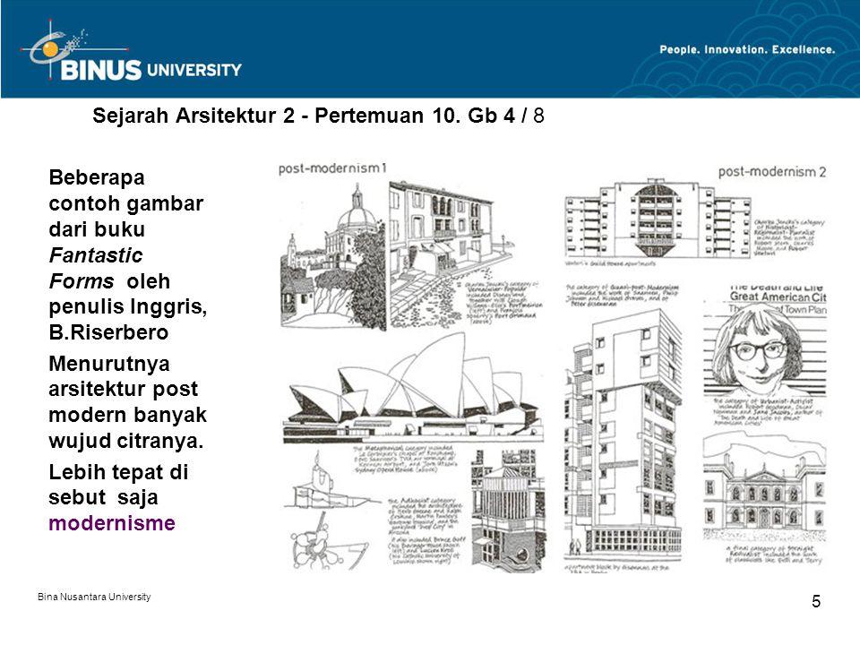 Bina Nusantara University 5 Sejarah Arsitektur 2 - Pertemuan 10. Gb 4 / 8 Beberapa contoh gambar dari buku Fantastic Forms oleh penulis Inggris, B.Ris