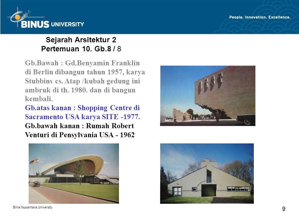 Bina Nusantara University 9 Sejarah Arsitektur 2 Pertemuan 10. Gb.8 / 8 Gb.Bawah : Gd.Benyamin Franklin di Berlin dibangun tahun 1957, karya Stubbins